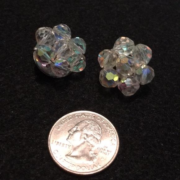 Vintage Jewelry - Vintage Iridescent Cluster Rhinestone Earrings